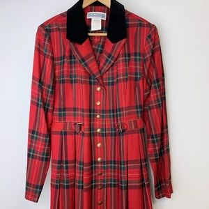 Vintage Jessica Howard Red Plaid Maxi Dress Sz 10
